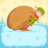 Schleppender Sack der Elfe voll Weihnachtsgeschenke Lizenzfreie Stockfotografie