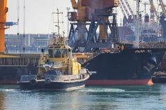 Schlepper am Bogen des Frachtschiffs, das Schiff unterstützend, um zu manövrieren lizenzfreie stockbilder