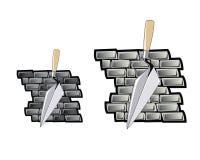 Schleppnetz und Backsteinmauer Stockfotos