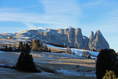 Schlern Mountains on Seiser Alm. South Tyrol Royalty Free Stock Photo