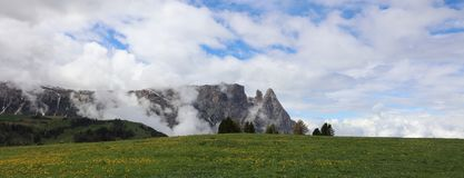 Schlern Mountains on Seiser Alm. South Tyrol Stock Images