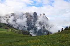 Schlern Mountains on Seiser Alm. South Tyrol Royalty Free Stock Image