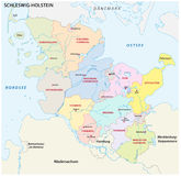 Schleswig-Holstein administrative and political map in german language Royalty Free Stock Image