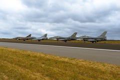 F16 and Mirage 2000 at NATO Tiger Meet 2014 royalty free stock photo