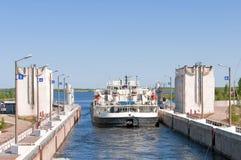 Schleuse des des Namens Kanal Volga-Don-Lenin Lizenzfreies Stockbild