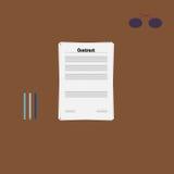 Schließen Sie auf Tabelle mit Gläsern und Stift oder Bleistifte Vertrag ab Lizenzfreies Stockbild