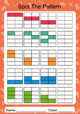 Schließen Sie das folgende Muster, Arbeitsblatt für Kinder ab Stockbilder