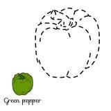 Schließen Sie die Punkte an: Obst und Gemüse (grüner Paprika) Lizenzfreies Stockbild