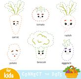 Schließen Sie die Punkte, Spiel für Kinder an Satz Karikatur-Gemüse vektor abbildung