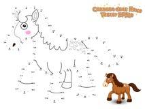 Schließen Sie die Punkte an und zeichnen Sie nettes Karikatur-Pferd Lernspiel f lizenzfreie stockfotos