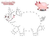 Schließen Sie Dots Draw Cute Cartoon Pig an und färben Sie Pädagogisches GA Lizenzfreie Stockbilder