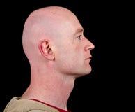 Schließen Sie herauf Abbildung eines männlichen Kopfes von der Seite auf Schwarzem Lizenzfreies Stockfoto