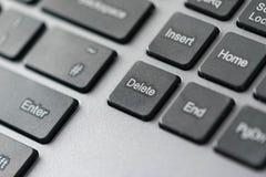 Schließen Sie herauf Ansicht der Löschungsikone auf ComputerTasten Lizenzfreies Stockfoto