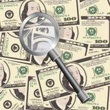 Schließen Sie herauf Ansicht des Amerikaners hundert Dollarscheine mit Vergrößerungsglas Lizenzfreies Stockfoto