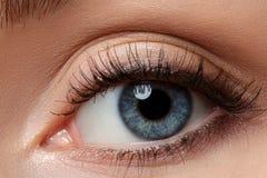 Schließen Sie herauf Ansicht des schönen blauen weiblichen Auges Lizenzfreie Stockbilder