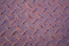 Schließen Sie herauf Ansicht des verrosteten Diamantplattenstahls Stockfotografie