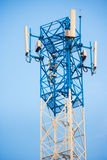 Schließen Sie herauf Antenne für Handykommunikation im klaren blauen Himmel Lizenzfreie Stockbilder