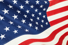 Schließen Sie herauf Atelieraufnahme der Baumwollflagge - die Vereinigten Staaten von Amerika Lizenzfreies Stockbild