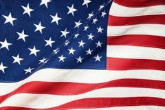 Schließen Sie herauf Atelieraufnahme der rauen Beschaffenheitsbaumwollflagge - die Vereinigten Staaten von Amerika Lizenzfreies Stockfoto