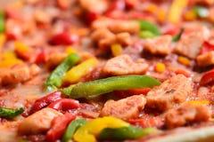Schließen Sie herauf Bild einer geschmackvollen bbq-Pizza Stockbild