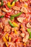 Schließen Sie herauf Bild einer geschmackvollen bbq-Pizza Lizenzfreie Stockbilder