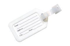 Schließen Sie herauf das Draufsichtausweisnamensschild, das auf weißem Hintergrund mit Beschneidungspfad lokalisiert wird Stockfotos