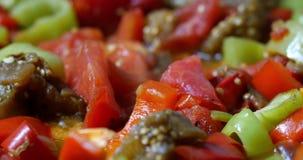 Schließen Sie herauf das Gemüseeintopfgericht, das gerollt wird stock video footage