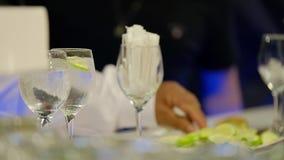 Schließen Sie herauf das Hinzufügen der Zitronenscheibe dem Cocktail Kadettmädchen, welches die Kamera und die Aufstellung betrac stock footage