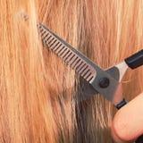 Schließen Sie herauf Detail Spezielle Scheren, die Haar schneiden Lizenzfreie Stockbilder