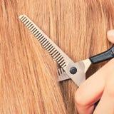 Schließen Sie herauf Detail Spezielle Scheren, die Haar schneiden Stockfotografie