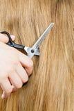 Schließen Sie herauf Detail Spezielle Scheren, die Haar schneiden Stockbild