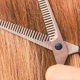Schließen Sie herauf Detail Spezielle Scheren, die Haar schneiden Lizenzfreies Stockbild
