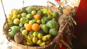 Schließen Sie herauf die Ansicht des Obstkorbes schwingend im Wind in Weligama, Sri Lanka Tropische Frucht ist das ganze Jahr hin stock video