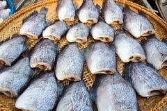 schließen Sie herauf die Fische, die auf dem Korb trocken sind, der für Blitz im Freien ist Lizenzfreie Stockfotos