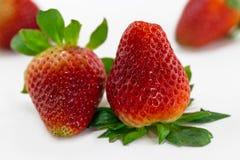 Schließen Sie herauf die lokalisierte Erdbeere zwei Lizenzfreie Stockfotos