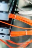 Schließen Sie herauf elektrische Installationen und Drähte auf Relaisschutz Stockfotografie