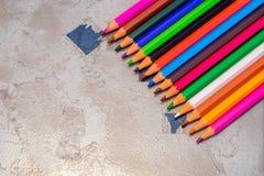 Schließen Sie herauf farbige Bleistifte Lizenzfreies Stockbild