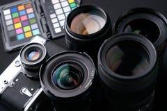 Schließen Sie herauf Foto der Sammlung des Kameraobjektivs Lizenzfreie Stockbilder
