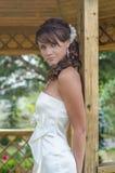 Schließen Sie herauf Foto einer jungen lächelnden Braut Stockbild