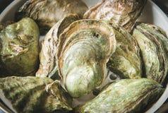 Schließen Sie herauf frischen Fang einiger roher Austern an der Kleinanzeige des Fischermarktes, Abschluss oben, hohe Winkelsicht stockfotografie