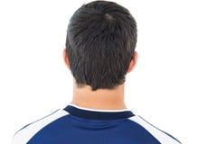 Schließen Sie herauf Fußballspieler der hinteren Ansicht Stockbild