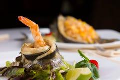 Schließen Sie herauf geschmackvolles Protein Rich Sea Food Dish stockfotografie