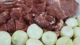 Schließen Sie herauf große Stücke Rindfleisch und Zwiebeln Kamerabewegung von links nach rechts stock video