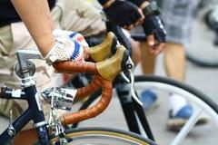 Schließen Sie herauf Handgriff-Fahrradgriff Lizenzfreies Stockbild