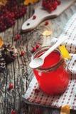 Schließen Sie herauf heißes rotes Getränk im Glas mit Moosbeer- oder Viburnumbeere auf Holztisch mit Herbstlaub am Dorf Lebensmit Stockbilder