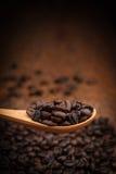 Schließen Sie herauf Kaffeebohnen auf hölzernem Löffel Lizenzfreies Stockfoto