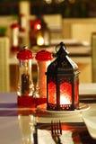Schließen Sie herauf Kerze im Glas Stockfotografie