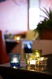 Schließen Sie herauf Kerze im Glas Stockbilder