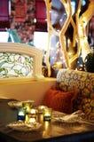 Schließen Sie herauf Kerze im Glas Lizenzfreies Stockfoto