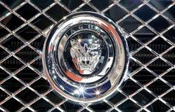 Schließen Sie herauf Logo von Jaguar auf Stoßdämpfer Lizenzfreies Stockfoto